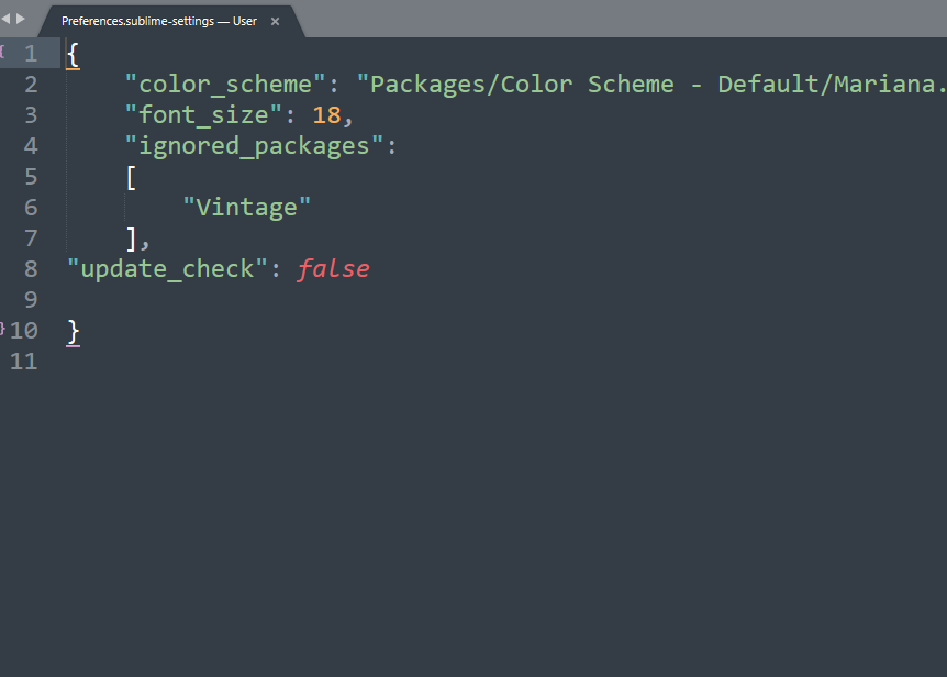 关闭sublime text 3 更新提示